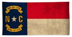 North Carolina State Flag Art On Worn Canvas Beach Towel