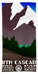 North Cascades National Park Vintage Poster Beach Towel
