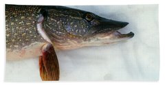 Northern Pike Fish On Snow, Close Beach Towel