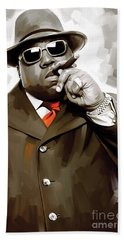 Notorious Big - Biggie Smalls Artwork 3 Beach Towel by Sheraz A