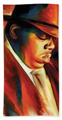 Notorious Big - Biggie Smalls Artwork Beach Towel by Sheraz A