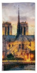 Notre Dame De Paris Beach Towel by Mo T