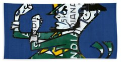 Notre Dame Fighting Irish Leprechaun Vintage Indiana License Plate Art  Beach Towel by Design Turnpike
