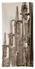 Notre Dame Sentries Sepia Beach Towel