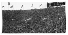 Notre Dame-usc Scoreboard Beach Towel by Underwood Archives