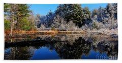 November Snow Beach Towel by Mim White