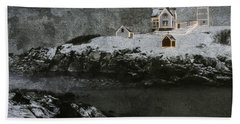 Nubble Light Stormy Night Beach Sheet