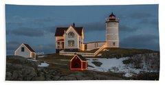 Nubble Lighthouse At Christmas Beach Towel