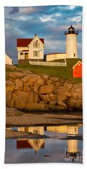 Beach Towel featuring the photograph Nubble Lighthouse No 1 by Jerry Fornarotto