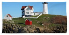 Nubble Lighthouse One Beach Sheet by Barbara McDevitt