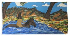 Beach Towel featuring the painting Nude And Bareback Swim by Jeffrey Koss