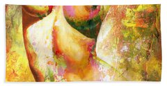 Nude Details - Digital Vibrant Color Version Beach Sheet by Emerico Imre Toth