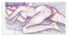 Nude Female Sketches 5 Beach Sheet