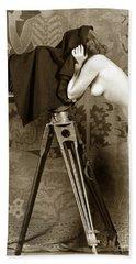Nude In High Heel Shoes With Studio Camera Circa 1920 Beach Towel