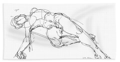 Nude Male Drawings 1 Beach Towel