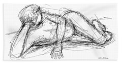 Nude Male Sketches 5 Beach Towel