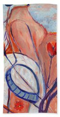 Beach Towel featuring the painting Nude With A White Hat by Avonelle Kelsey