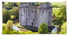 Nunney Castle Painting Beach Towel
