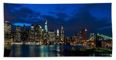 Ny Skyline From Brooklyn Heights Promenade Beach Towel by Mitchell R Grosky
