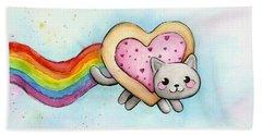 Nyan Cat Valentine Heart Beach Towel