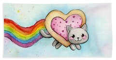 Nyan Cat Valentine Heart Beach Towel