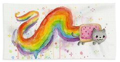 Nyan Cat Watercolor Beach Towel
