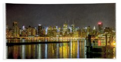 Nyc At Night Faux Oil Beach Sheet