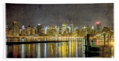 Nyc At Night Beach Towel