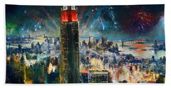 Nyc In Fourth Of July Independence Day Beach Towel by Ylli Haruni