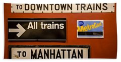 Nyc Subway Signs Beach Towel