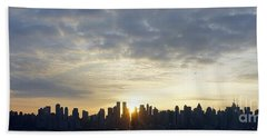 Nyc Sunrise Panorama Beach Towel