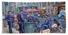 Nypd Highway Patrol Beach Sheet by Ron Shoshani