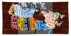O Canada Recycled License Plate Map Of Canada National Anthem On Canadian Flag Art Beach Towel