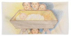 O Come Little Children - Christmas Card Beach Towel