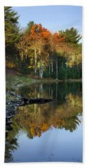 Beach Towel featuring the photograph Oakley Corners State Forest by Christina Rollo
