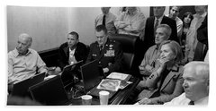Obama In White House Situation Room Beach Towel by War Is Hell Store