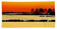 Orange Sunset Beach Sheet by Carol F Austin