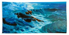 Beach Towel featuring the painting Ocean Deep by Jenny Lee