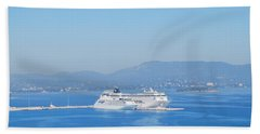 Ocean Liners In Corfu Beach Towel by George Katechis