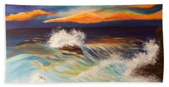 Beach Towel featuring the painting Ocean Sunset by Michelle Joseph-Long