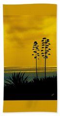 Ocean Sunset With Agave Silhouette Beach Sheet