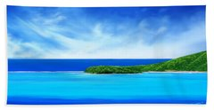 Beach Towel featuring the digital art Ocean Tropical Island by Anthony Fishburne
