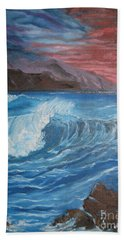 Beach Towel featuring the painting Ocean Wave by Jenny Lee