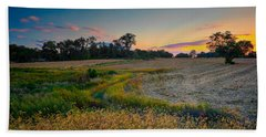 October Evening On The Farm Beach Towel