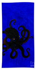 Octopus Black And Blue Beach Towel