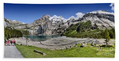 Beach Towel featuring the photograph Oeschinen Lake by Carsten Reisinger