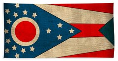 Ohio State Flag Art On Worn Canvas Beach Towel by Design Turnpike