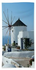 Oia Windmills Beach Towel