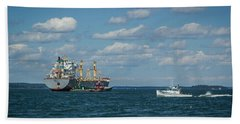 Beach Towel featuring the photograph Oil Tanker And Lobster Boat by Jane Luxton