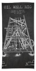 Oil Well Rig Patent From 1893 - Dark Beach Towel by Aged Pixel